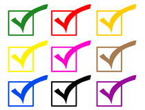 Check tick colored icons Royalty Free Stock Image