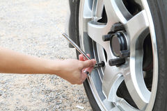 Check the tire pressure Stock Photos