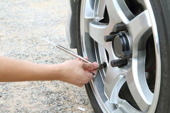 Check the tire pressure Stock Photography
