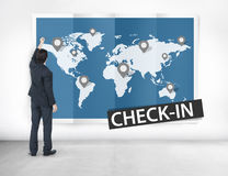 Check In Travel Locations Global World Tour Concept Stock Image