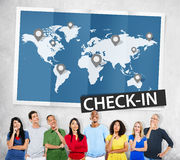 Check In Travel Locations Global World Tour Concept Stock Photos
