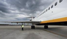 Check up. Pilot conducting an aircraft external inspection Stock Photo
