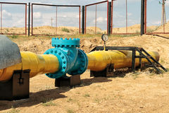 Check valve in the gas pipeline. Stock Photos