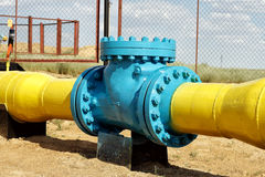 Check valve in the gas pipeline. Royalty Free Stock Photos