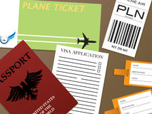 Check-in visa. Illustration of all the documents you would need to fly from an airport Royalty Free Stock Image