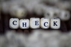 Check Word Written In Wooden Cube Royalty Free Stock Images