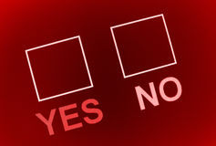 Check yes or no. A red background with boxes to check yes or no Stock Photo
