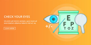 Check your eyes banner horizontal, cartoon style. Check your eyes horizontal concept. Cartoon illustration of check your eyes banner horizontal vector for web Royalty Free Stock Image