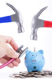 Check your money before use Hold Hammer Royalty Free Stock Images