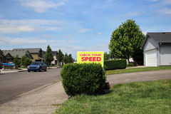 Check Your Speed sign. In neighborhood Royalty Free Stock Image