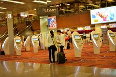 Check-in zone at Singapore Changi Airport Royalty Free Stock Photos