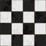 Checkboard tiles. Black And White tile seamless background in grunge style Royalty Free Stock Photos