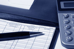 Checkbook. And pen close up royalty free stock photography