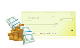 Checkbook and business profits illustration. Design over a white background Stock Images