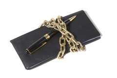 Checkbook and Chain. Concept of Recession or Safety royalty free stock photos