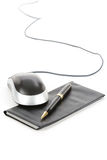 Checkbook and computer mouse. With white background royalty free stock photos