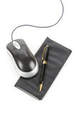 Checkbook and computer mouse. With white background royalty free stock images