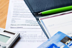 Checkbook with credit cards Stock Photo