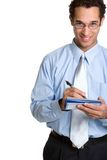Checkbook Man. Handsome smiling checkbook man isolated royalty free stock photo