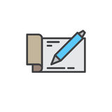 Checkbook with pen filled outline icon, vector sign Royalty Free Stock Photo