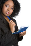 Checkbook Woman. Confused black business checkbook woman royalty free stock images