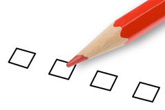 Checkbox. Red pencil and questionnaire business Stock Photo