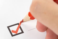 Checkbox. Writing Check Mark close up Stock Image