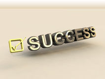 Checkbox in 3D and Success Text Stock Photo