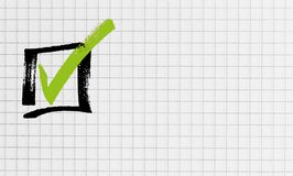 Checkbox en concepto a cuadros del coj?n de escritura imagen de archivo