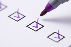 Checkbox with purple tick Stock Photos