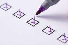 Checkbox with purple tick Stock Image