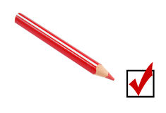Checkbox and red pencil Stock Image