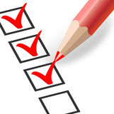 Checkbox with a red pencil Stock Photography