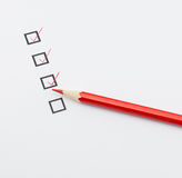 Checkbox and red pencil Royalty Free Stock Image