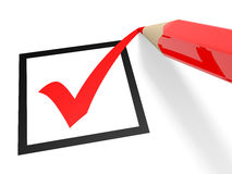 Checkbox. Red tick in checkbox and pencil. Vote. 3D illustration Royalty Free Stock Image