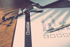 Checkbox. Survey form with a tick placed in checkbox Royalty Free Stock Image
