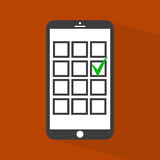 Checkboxes auf Smartphoneschirm Stockbild