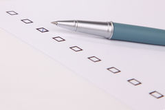 Checkboxes with Ball Pen Stock Images