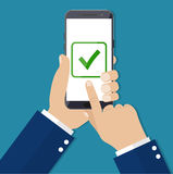 Checkboxes on smartphone screen. Royalty Free Stock Photo