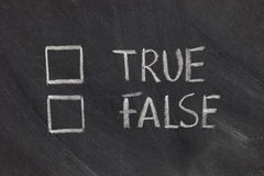 Checkboxes verdaderos o falsos Fotos de archivo libres de regalías
