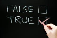 Checkboxes verdaderos y falsos Imagenes de archivo