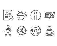 Checked calculation, Coffeepot and Targeting icons. Copyright laptop, Headhunting and Tea cup signs. Set of Checked calculation, Coffeepot and Targeting icons Royalty Free Stock Photography