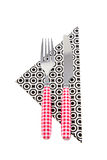 Checked cutlery on a napkin Stock Photography