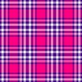 Diamond tartan plaid scotch kilt fabric seamless pattern texture background - color hot pink magenta, purple and white. Checked diamond tartan plaid scotch kilt stock illustration