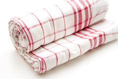Checked dish towel rolled Stock Image