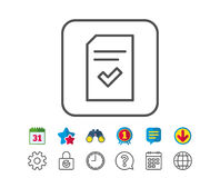 Checked Document line icon. File sign. Checked Document line icon. Information File with Check sign. Correct Paper page concept symbol. Calendar, Globe and Chat Royalty Free Stock Images