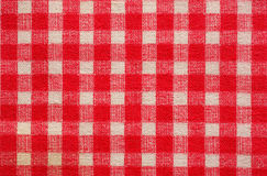 Checked fabric background. White and red checked natural cotton fabric - background Stock Image