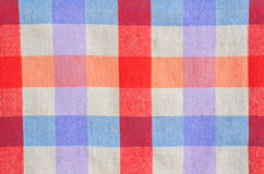 Checked fabric tablecloth. Colorful checked fabric tablecloth texture Royalty Free Stock Photos