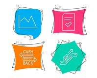 Checked file, Cashback card and Line chart icons. Escalator sign. Set of Checked file, Cashback card and Line chart icons. Escalator sign. Correct document Stock Photography