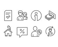 Checked file, Find user and Discount message icons. Teamwork, Atm money and Human resources signs. Set of Checked file, Find user and Discount message icons stock illustration